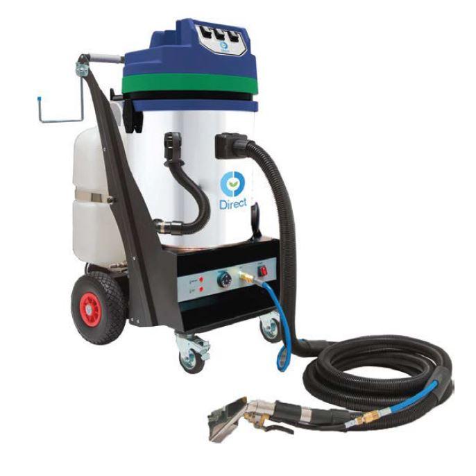 Macchinario ad estrazione ad acqua calda mod.CLEAN 90 a 3 MOTORI, 220v, 50 Hz, 3600W, 60 lt fusto, 30 lt detergente e tubo 5 mt