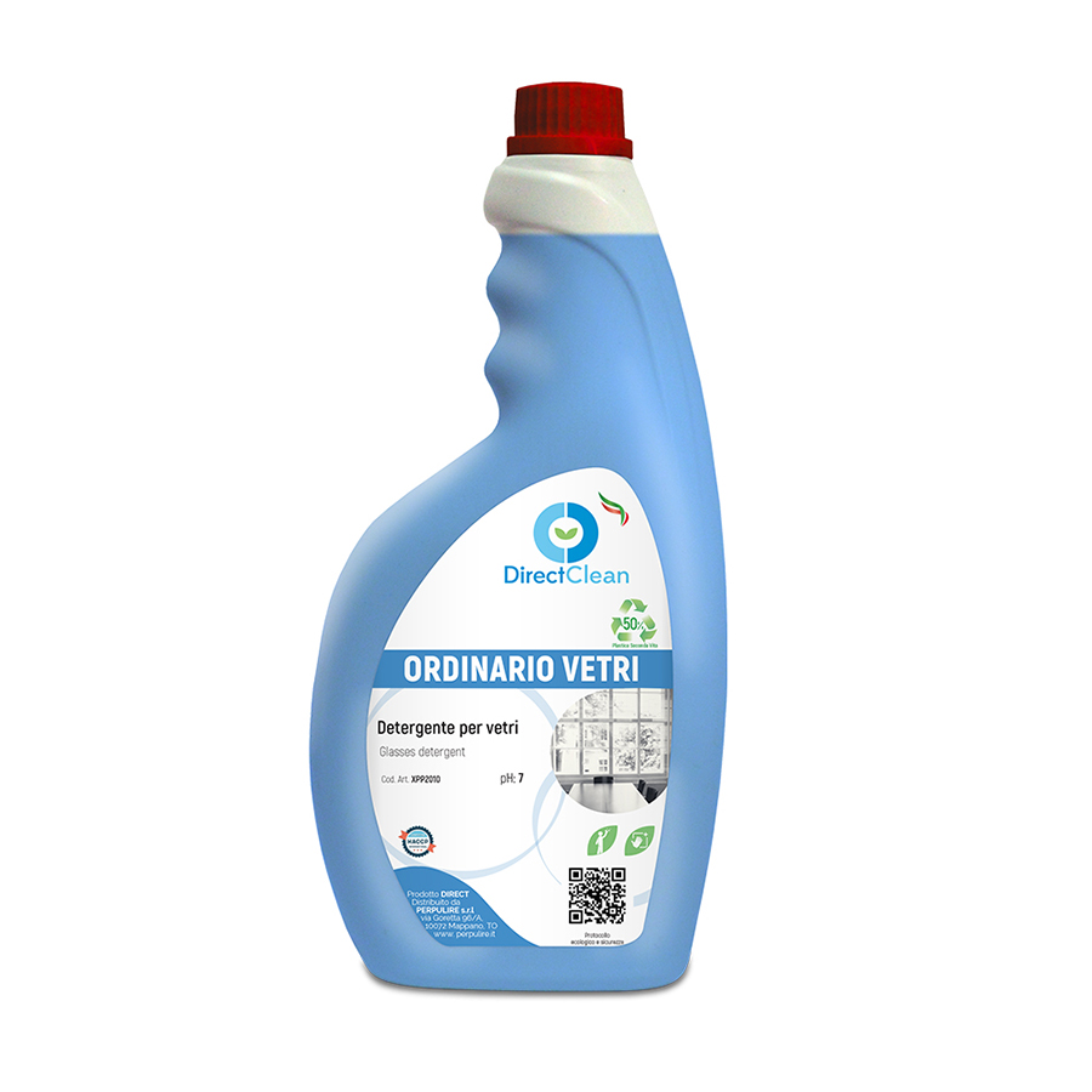 ORDINARIO VETRI Detergente pronto all'uso  per la pulizia di vetri e cristalli_Flacone 750ml (Cartone da 12 pz.)