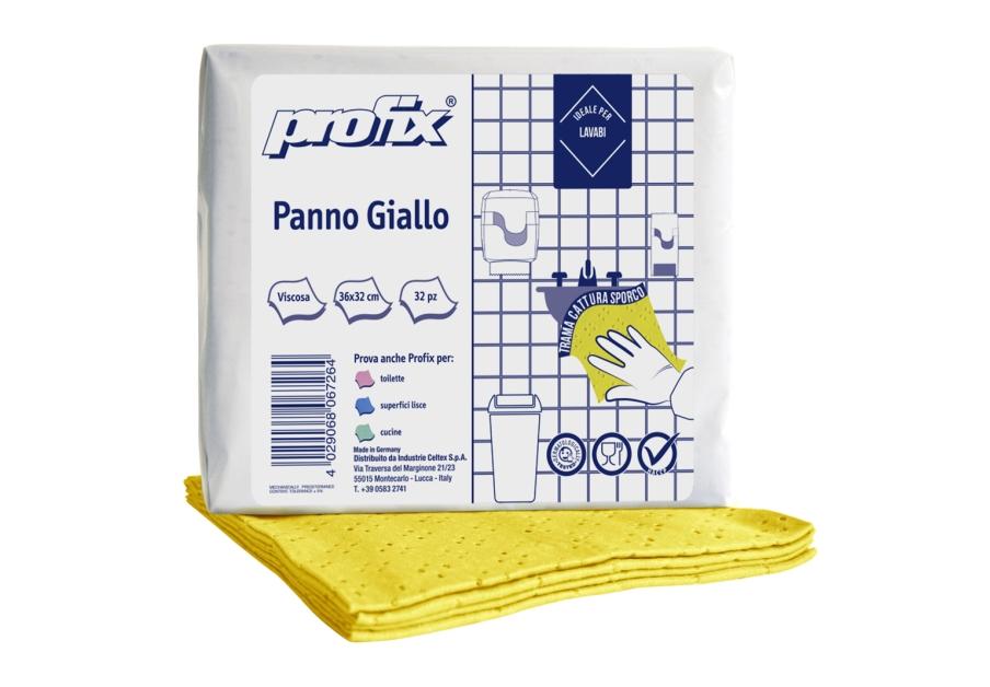 PANNO PPROFIX 4C 100% VISCOSA PANNI PIEGATI A Z 32X36 COLORE GIALLO CONF DA 32 PANNI