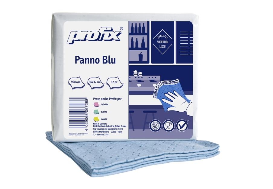 PANNO PPROFIX 4C 100% VISCOSA PANNI PIEGATI A Z 32X36 COLORE AZZURRO CONF DA 32 PANNI
