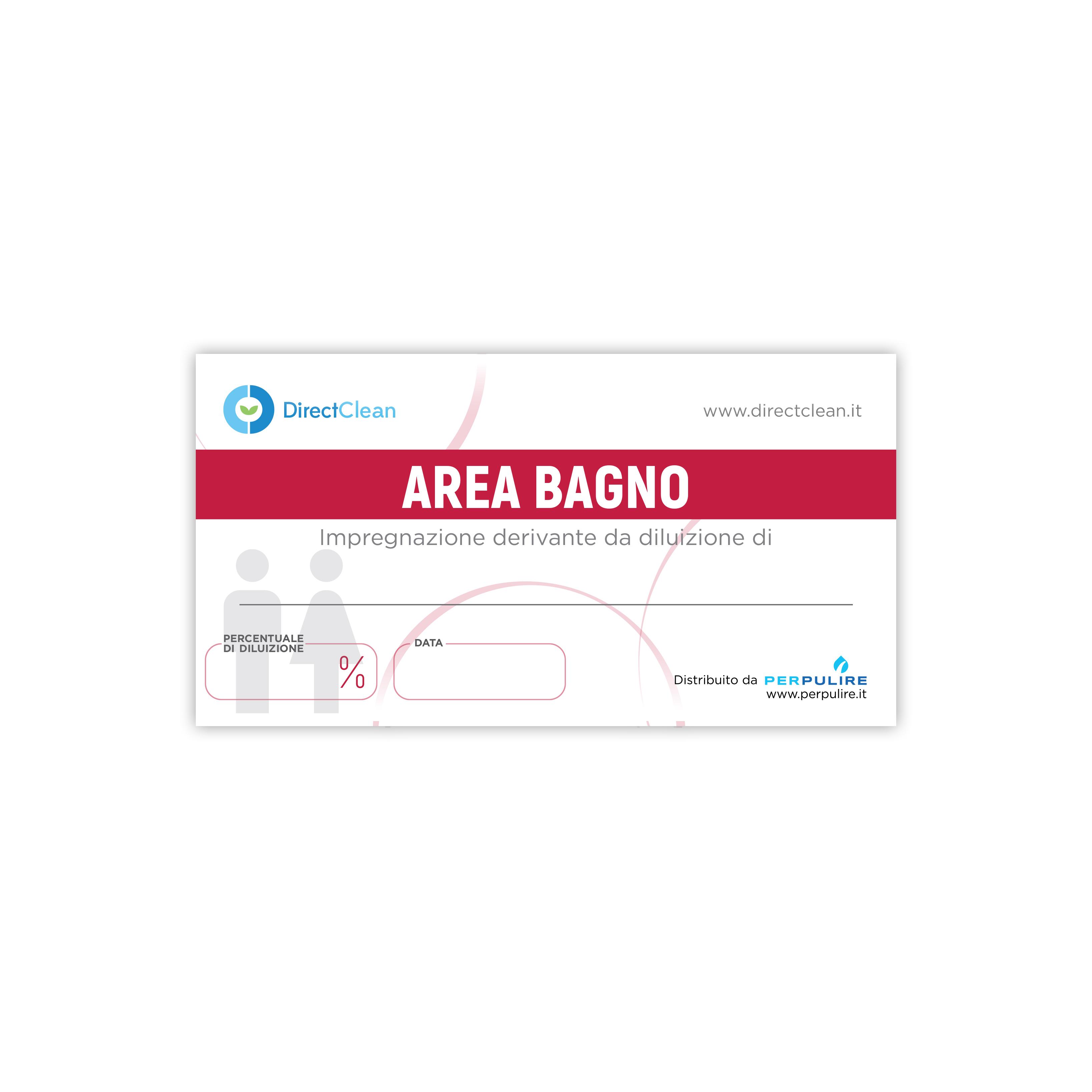 ETICHETTA AREA BAGNO ROSSA DIRECT CLEAN 10X5 CM