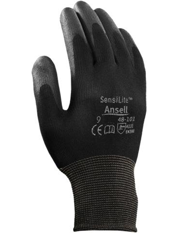 Guanto Ansell Sensilite 48-101 palmo rivestito in PU, fodera in nylon, polso a maglia, colore nero _ Tg. 9