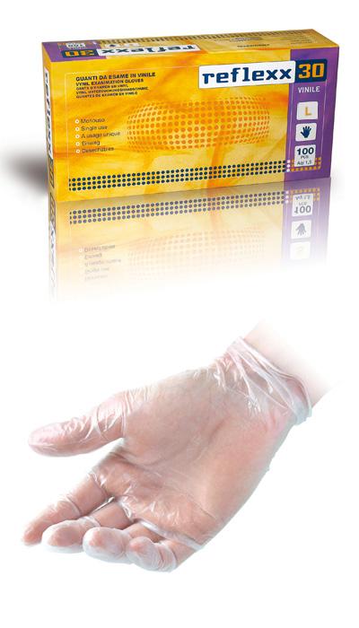 GUANTO REFLEXX30 VINILE C/POLV. conf. 100pz. mis. L