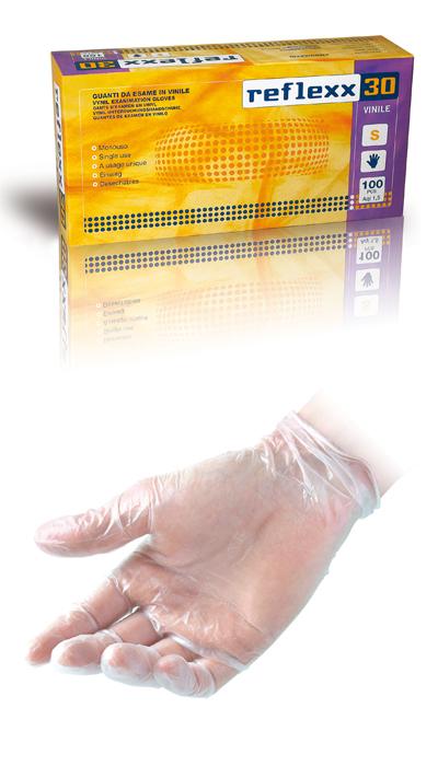 GUANTO REFLEXX30 VINILE C/POLV. conf. 100 pz. taglia S