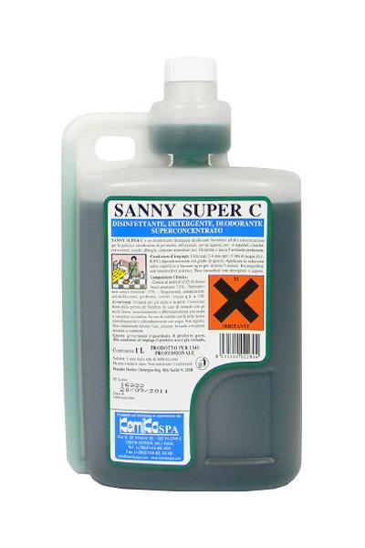 SANNY SUPER C_ Disinfettante detergente  deodorante superconcentrato  (5 volte concentrato)  - Reg.  M.S. n° 18241_Flacone  dosa