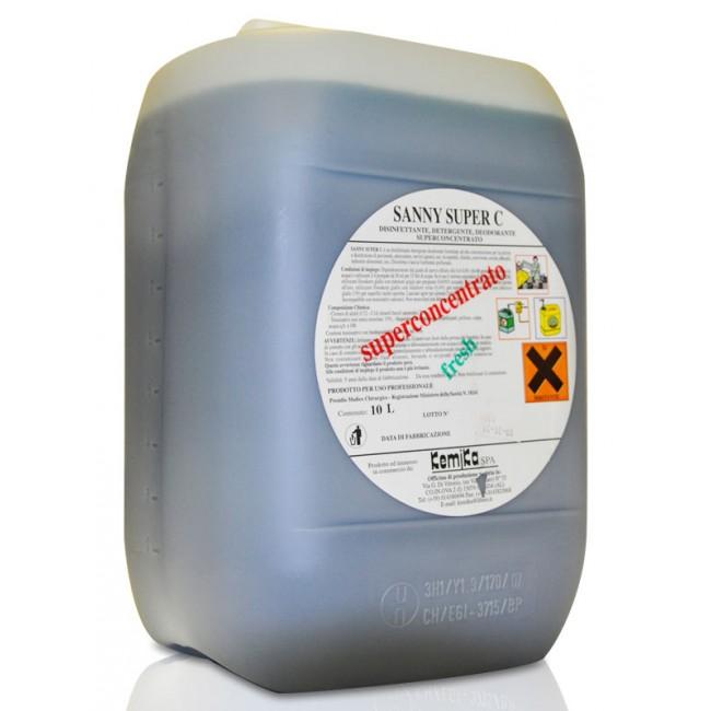 SANNY SUPER C_Disinfettante detergente deodorante superconcentrato (5 volte concentrato)  - Reg. M.S. n° 18241_Tanica 10 Kg.