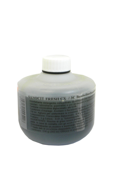 SANOCIT CX 3C BOMBOLINO FRESH_Disinfettante detergente superccon Clorexidina per servizi igienici crt 20x230 ml