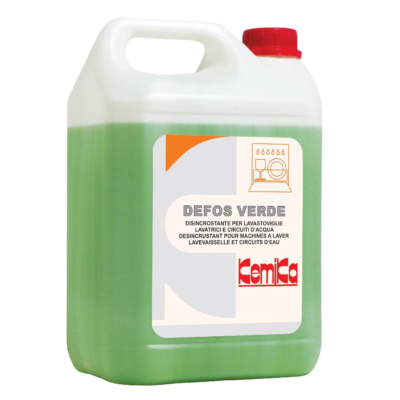 DEFOS VERDE_Disincrostante per lavastoviglie, lavatrici e circuiti d'acqua con inibitore di corrosione_Tanica 5 Kg.