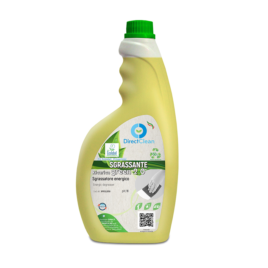 SGRASSANTE MULTIUSO GREEN 2.0 DETERGENTE UNIVERSALE AD ALTO POTERE SGRASSANTE ECOLABEL 750ML FLACONE