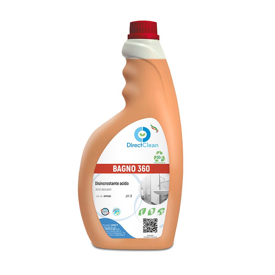 BAGNO 360 Disincrostante acido a schiuma attiva per pulizia periodica di articoli sanitari_Flacone 750ml