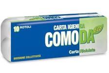 CARTA IGIENICA COMODA  PURA CELLULOSA 2veli, 155  strappi, Conf. 10  x 12 Totale  120 rotolini